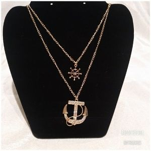 New Layered Crystal ship anchor Necklace